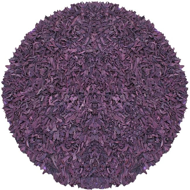 Hand-tied 'Pelle' Purple Leather Shag Rug (8' x 8')