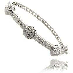 Finesque Sterling Silver Diamond Accent 3-button Bangle Bracelet