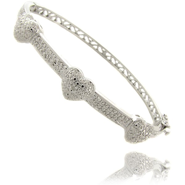 Finesque Sterling Silver Diamond Accent 3-heart Bangle Bracelet