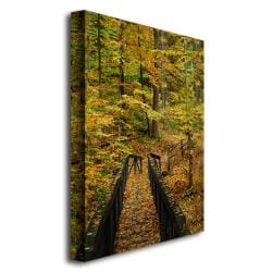 Kurt Shaffer 'Fall Bridge' Canvas Art