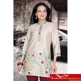 Golden 3/4-sleeve Kurti/ Tunic with Designer Embroidery (India)