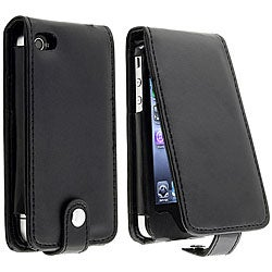 INSTEN Black Leather Phone Case Cover with Card Holder for Apple iPhone 4/ 4S