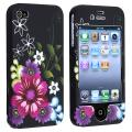 Red/ Purple Flower Snap-on Rubber Coated Case for Apple iPhone 4/ 4S
