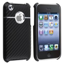 Black Carbon Chrome Snap-on Case for Apple iPhone 3G/ 3GS