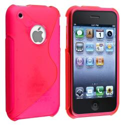 Hot Pink S Shape TPU Rubber Skin Case for Apple iPhone 3G/ 3GS