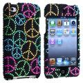 Black Bling Peace Sign Snap-on Case for Apple iPod Touch 4th Gen