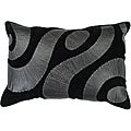 Swirl 20x13 Black/Silver Decor Pillow