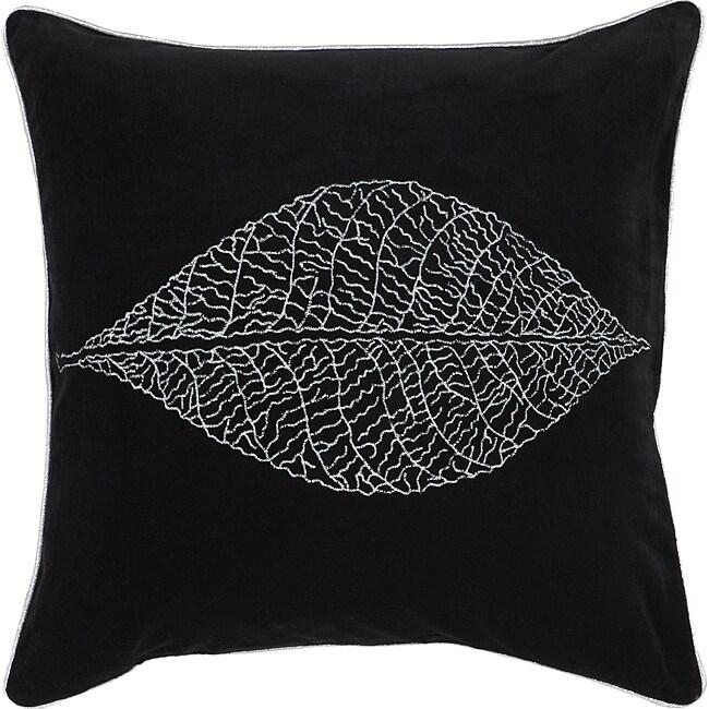Decorative Square Mink Large Black/Silver Down Pillow