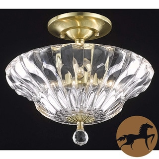 Christopher Knight Home Crystal Gold 3-Light Semi-Flush Mount