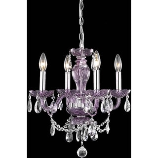 Christopher Knight Home Crystal Lattice Transparent Lavender Four-light Chandelier