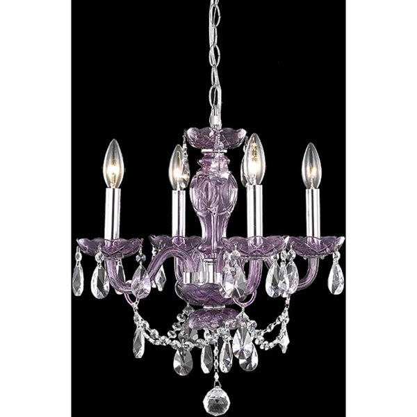Somette Crystal Lattice Transparent Lavender Four-light Chandelier