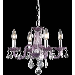 Somette Crystal Lattice Lavender 4-light Chandelier