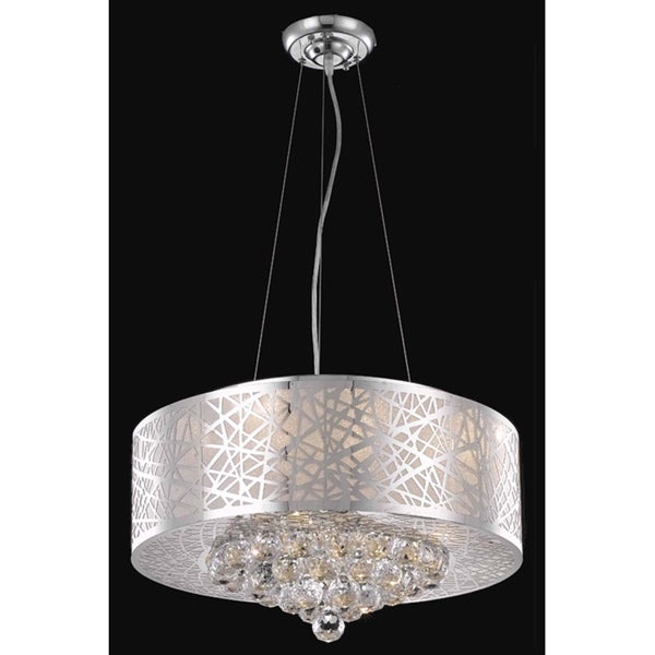 Somette Chrome 7-light Crystal Drop Chandelier