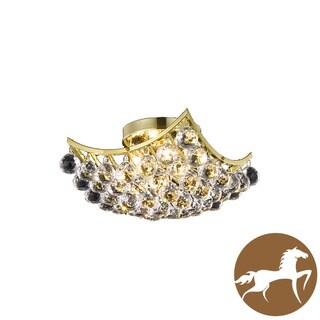 Christopher Knight Home Flush Mount Gold 4-Light Crystal Drop Chandelier