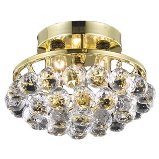 Somette Gold Three-Light Chandelier with Crystal Drops
