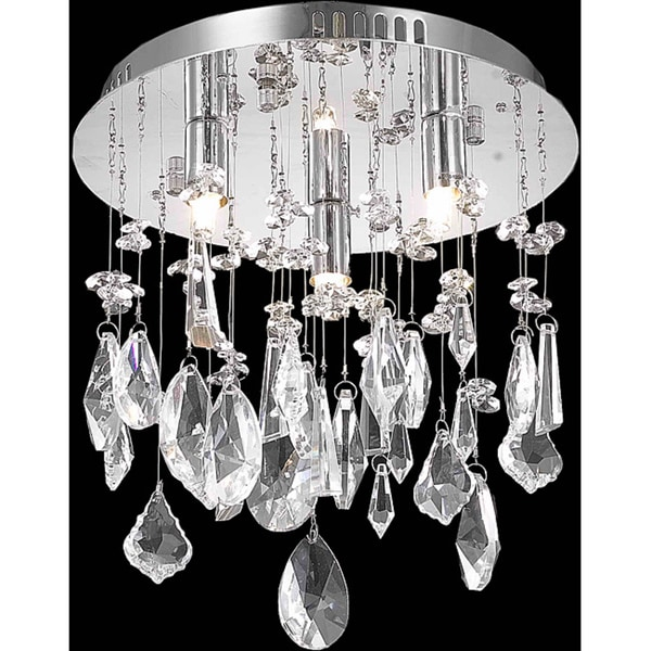 Somette Chrome 3-Light Crystal Chandelier