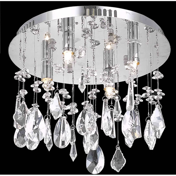 Somette Chrome Four-Light Flush-Mount Chandelier