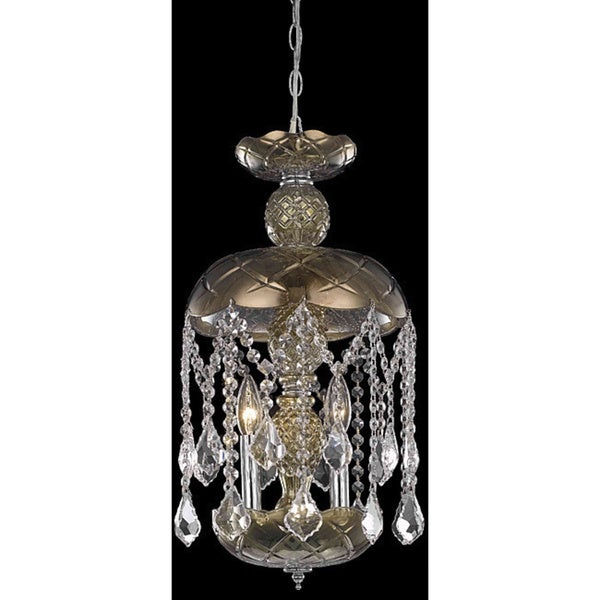 Somette 3-light Golden Teak Pendant Chandelier