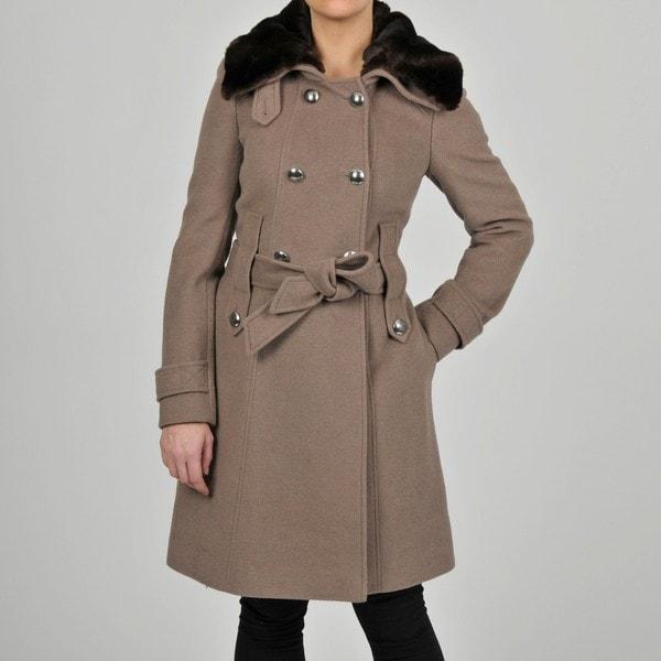 Tahari Women's Wool-blend Double-breasted Military-inspired Coat