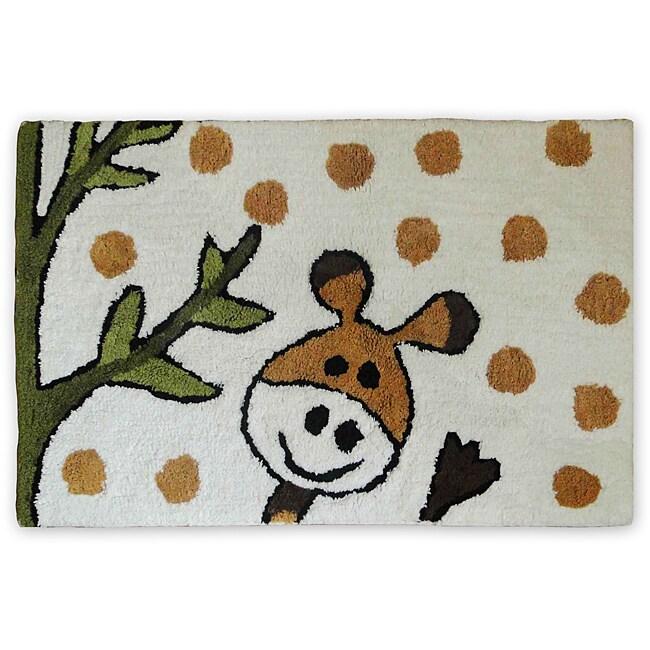 White Giraffe Design 100-percent Cotton Bath Mat (24' x 36')