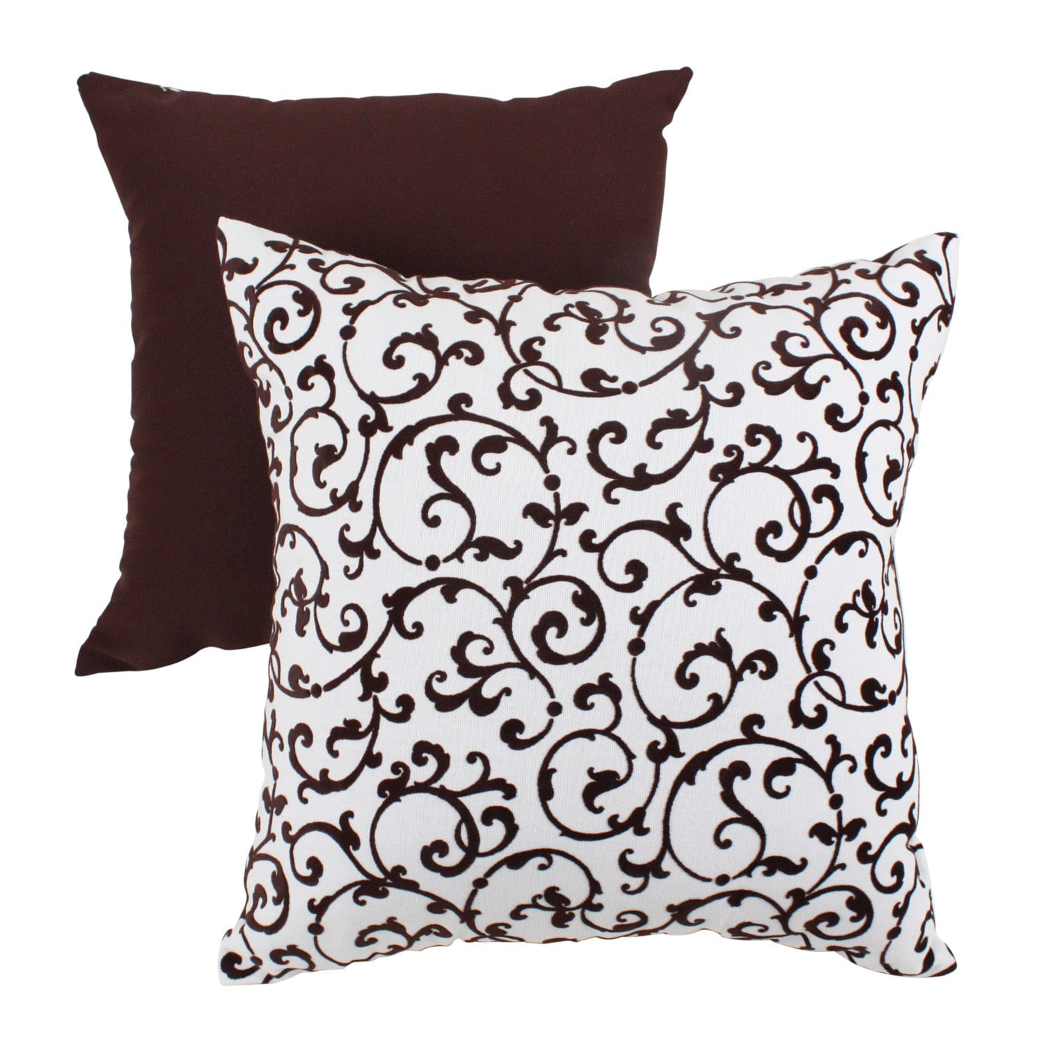 Pillow Perfect Brown Scroll Flocked Square Throw Pillow