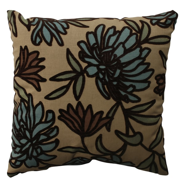PIllow Perfect Tan Floral Flocked Decorative Throw Pillow