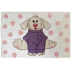 Jovi Home 'Dress Up Pup' White/ Pink 24 x 36 Bath Rug