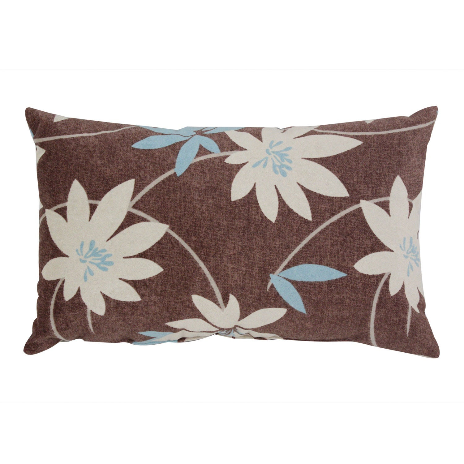 Pillow Perfect Brown Floral Flocked Throw Pillow