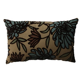 PIllow Perfect Tan Floral Flocked Throw Pillow