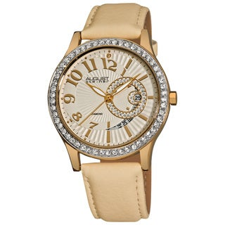 August Steiner Women's Diamond and Crystal Beige Quartz Watch