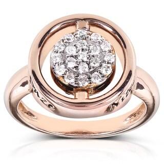 Annello Nitez N Daze 14k Rose Gold 1/2ct TDW Black and White Diamond Ring (H-I, I1-I2)