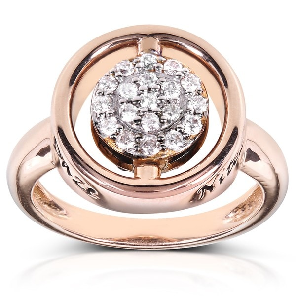 Annello Nitez N Daze 14k Rose Gold 1/2ct TDW Black and White Diamond Ring (H-I, I1-I2)