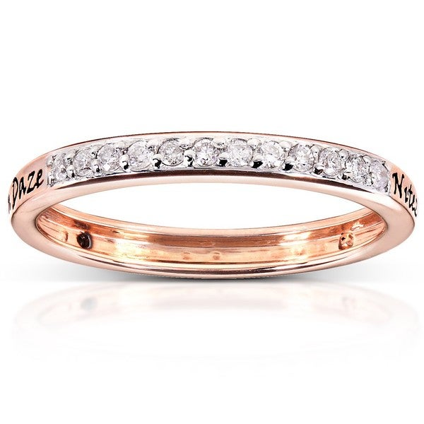 Annello Reversible 14k Rose Gold Black or White Diamond Ring (H-I, I1-I2)