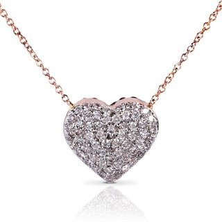 Annello Nitez N Daze 14k Rose Gold 1ct TDW Black and White Diamond Heart Necklace (H-I, I1-I2)