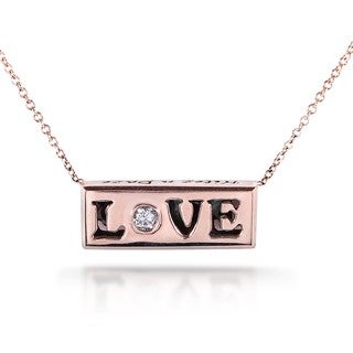 Annello Nitez N Daze 14k Rose Gold 1/8ct TDW Black and White Diamond 'Love' Necklace (H-I, I1-I2)