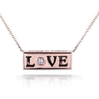 Annello Nitez N Daze 14k Rose Gold 1/8ct TDW Black and White Diamond 'Love' Necklace (H-I, I1-I2)