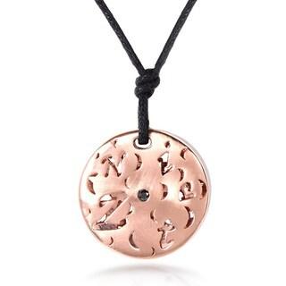 Annello Nitez N Daze 14k Rose Gold 1/8ct TDW Black and White Diamond Necklace (H-I, I1-I2)