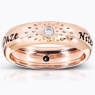 Annello  Nitez N Daze 14k Rose Gold 1/10ct TDW Black and White Diamond Band (H-I, I1-I2)