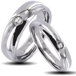 Tungsten Carbide Classic Cubic Zirconia His and Hers Wedding Band Set