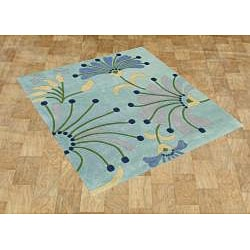 Hand-tufted Nile Blue New Zealand Wool Blend Rug (6' x 6')