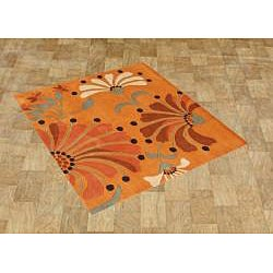 Hand-tufted Rust New Zealand Wool Blend Rug (6' x 6')