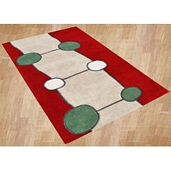 Handmade Tomato Red New Zealand Wool Rug (5' x 8')