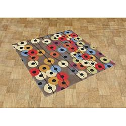 Handmade Square Grey New Zealand Wool-Blend Rug (6' x 6')
