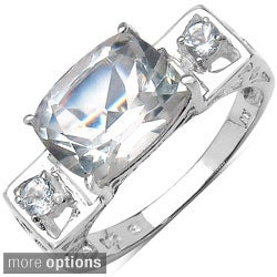 Malaika Sterling Silver Sqaure-cut Gemstone and Prong-set White Topaz Ring