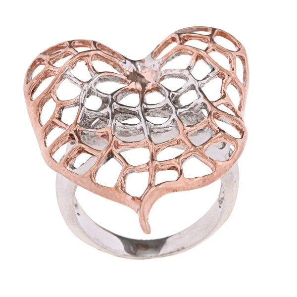 Rosegold and Silver Mesh Leaf Ring