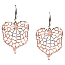 Rosegold over Sterling Silver Mesh Leaf Earrings