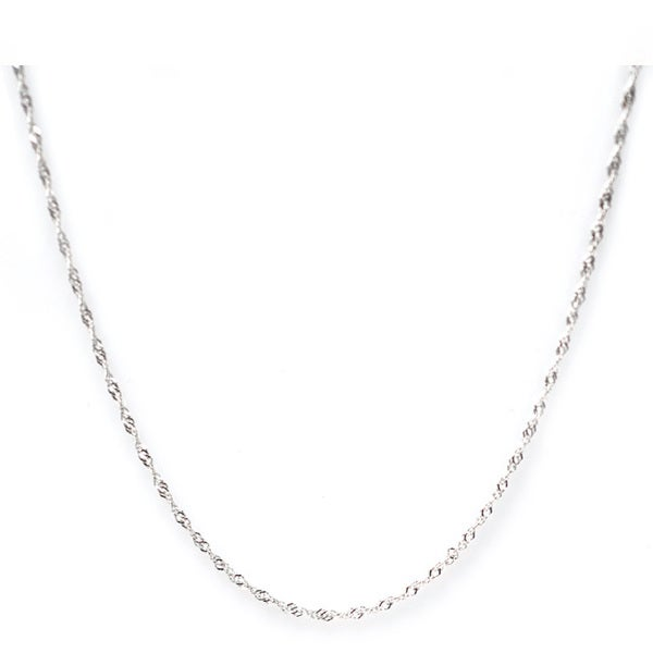 De Buman High-polish Sterling Silver 16-24 inch Singapore Chain (1.22 mm)