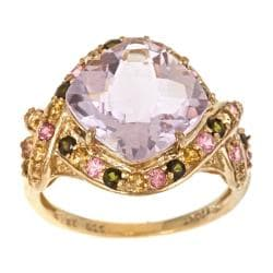 D'Yach 18k Gold over Silver Amethyst and Tourmaline Ring