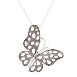 Sterling Silver Large Sandblasted Butterfly Necklace