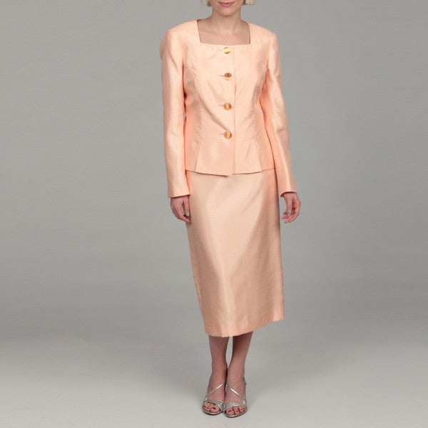 Emily Women's Peach Embellished Button Skirt Suit
